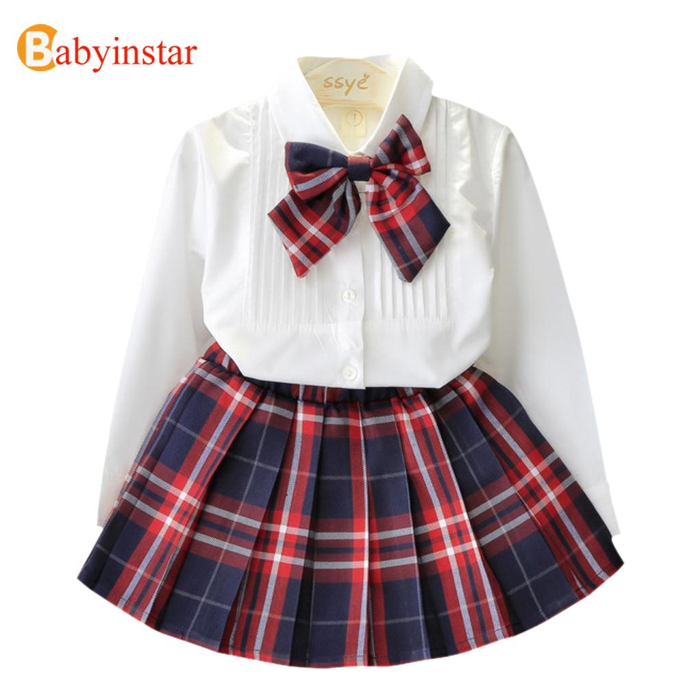 Babyinstar New 2018 Girls Clothing Sets White Shirts with Bow Tie+Plaid Skirt 2pcs Autumn Fashion Apparel girls School Uniform