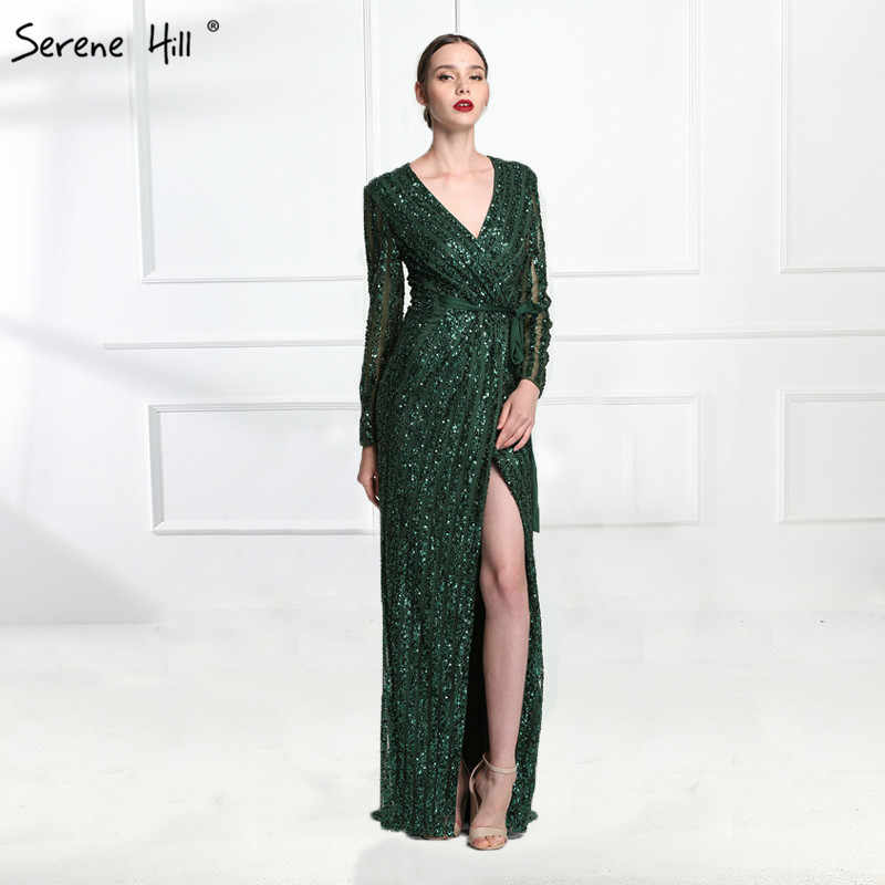 Fashion V-Neck Sleeping  Style Grey Green Evening Dresses  2019 Beading Diamond  Long Sleeves Evening Party LA6004
