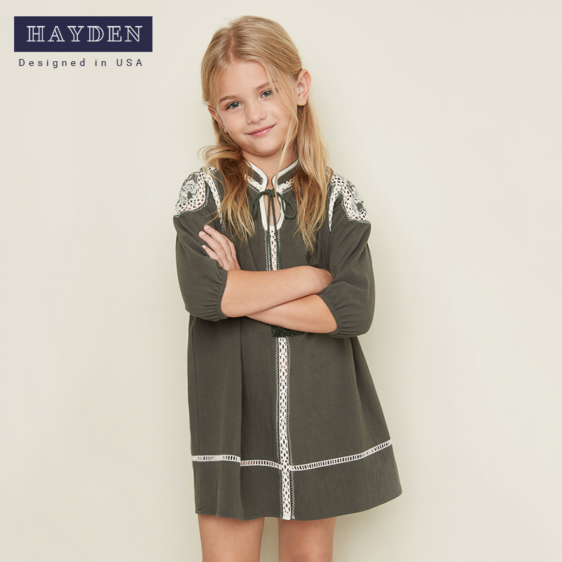 Hayden girl new spring 100% cotton kids dresses 7-14 years half sleeves girls dress Casual brand dresses for girls G2024 духовой шкаф bosch hbn 211b6r brown