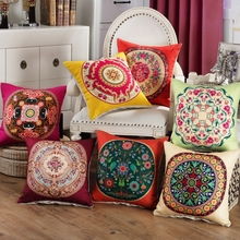 Chinese Cushion Case National Style Big Red Florals Geometric Vintage  Pillow Cushion Cover Cotton Linen Sofa