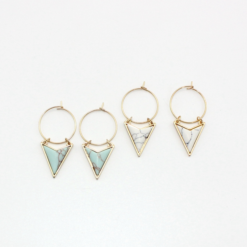 Bohemia Unique Surround Triangle Natural White Green  Marble GeometricStud Earrings for Women EthnicJewelry золотые серьги по уху