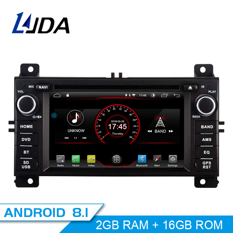 LJDA Android 8.1 Car DVD Player For JEEP Grand Cherokee 2011 2012 2013 1 Din Car Radio Multimedia GPS Navigation Stereo Audio SD