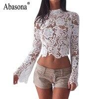 Abasona Women White Lace Blouse Long Sleeve Hollow Out Crochet Women Tops Back Zipper Sexy Party
