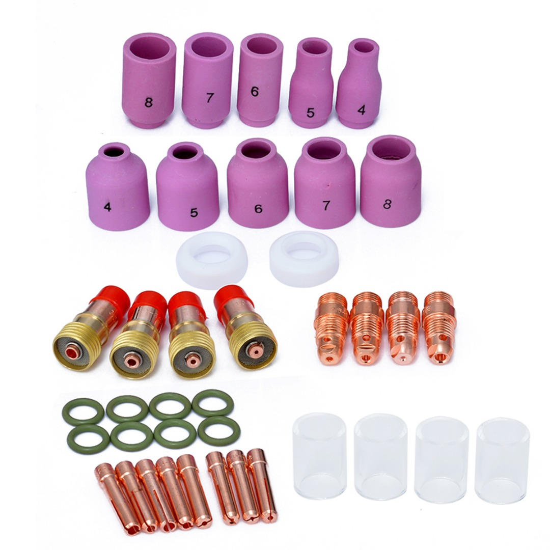 40pcs Welding Torch Accessories Collets Body Stubby Gas Lens + #10 Pyrex Glass Cup with Cup Gasket O-rings For Tig WP-17/18/26 17pcs tig welding torch stubby collet gas lens glass nozzle pryex cup kit with heat resistant o rings for wp 17 18 26 series