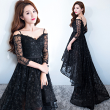 short front long back strapless Asymmetrical floor length black lace evening dress Custom made vestido de noche