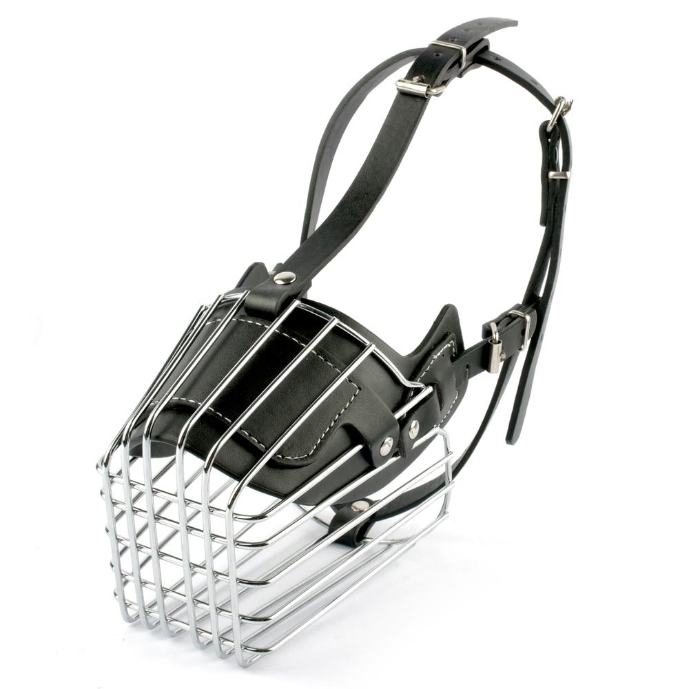 Black/ Brown Strong Metal Wire Basket Dog Muzzle For Large Dog ...