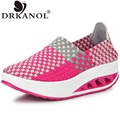 New women swing shoes breathable nylon weave summer slip on fitness slimming flat platform casual shoes size 35-40