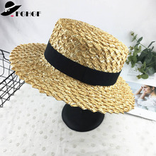 7cm Wide Brim Boater Cap Ribbon Round Flat Top Wheat Straw Hats Sun Beach hat Summer Women kentucky derby Hat Sombreros Mujer