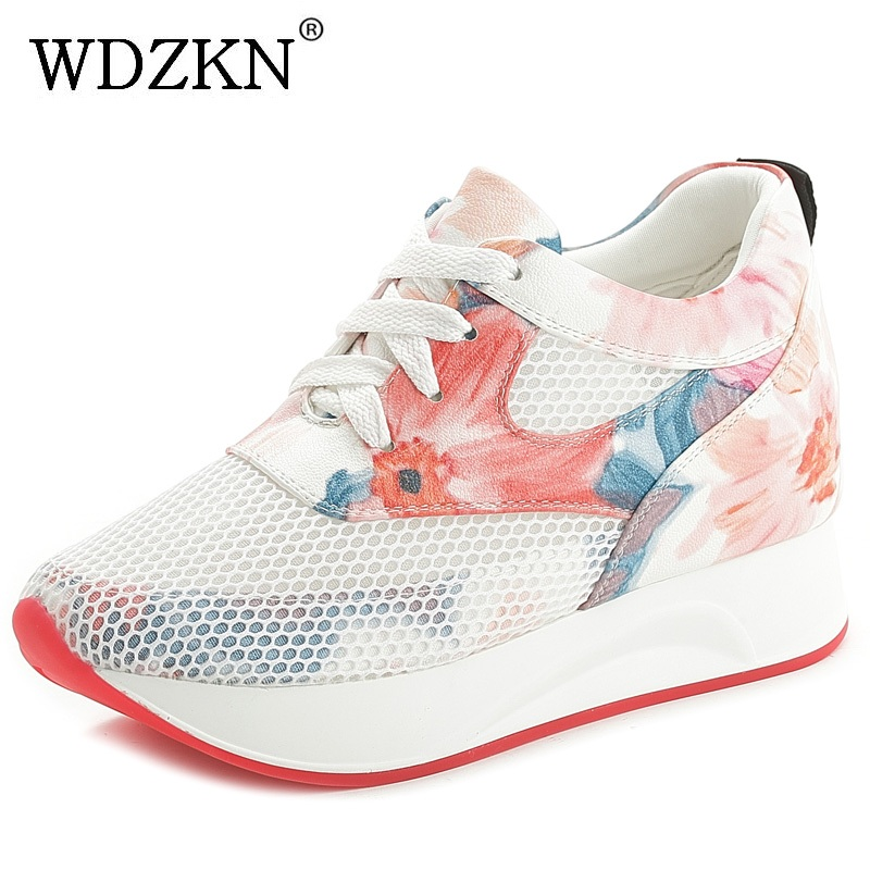 WDZKN Summer Breathable Air Mesh Women Casual Shoes Fashion Lace Up Printing Flat Platform Shoes Comfortable Ladies ShoesWDZKN Summer Breathable Air Mesh Women Casual Shoes Fashion Lace Up Printing Flat Platform Shoes Comfortable Ladies Shoes
