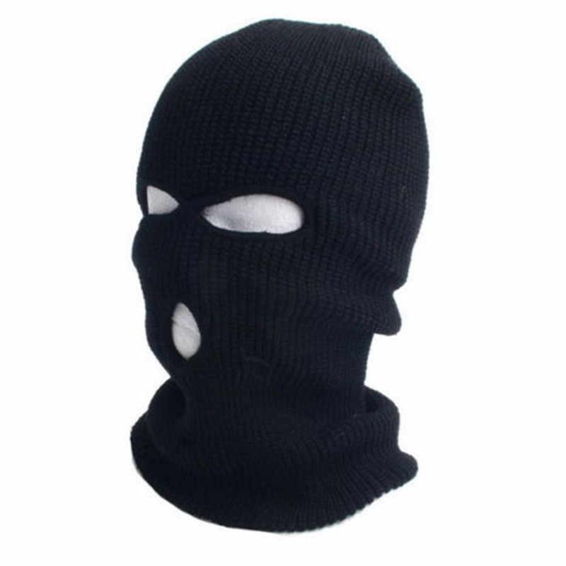 b6ecb862b36b2 3 Hole Balaclava Knit Hat Winter Stretch Snow mask Beanie Hat Cap Full Face  Cover Mask