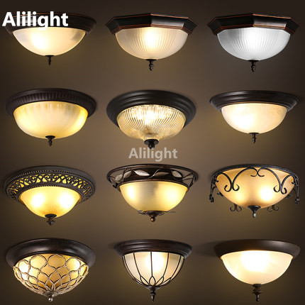Retro American Country Led Ceiling Light Fixture Metal Housing Bedroom Lamp E27 Plafond Hanging Indoor Lighting In Lights From