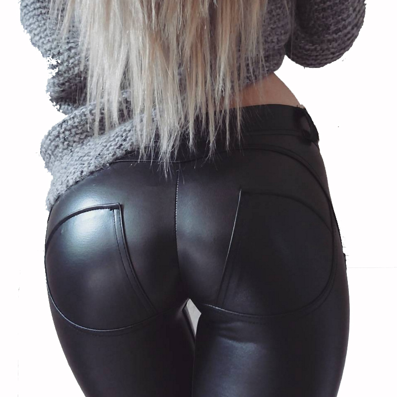 NORMOV Sexy PU Leggings For Women Low Waist Faux Leather Push Up Leggings Workout Leggins Plus Size Fitness Leggings Feminina