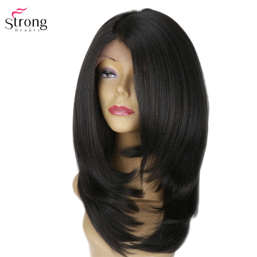 StrongBeauty Lace Front Wigs for women Yaki Straight Layered Hair Black Synthetic lace Wig Long