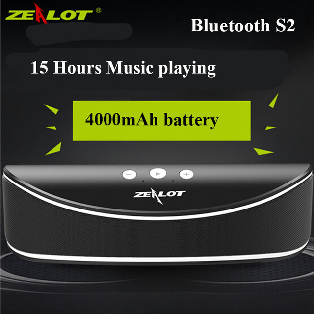 4000 mah Bateria Original ZEALOT S2 Spearkers Mini Portátil sem fio Bluetooth speaker subwoofer U disk/tf Suporte para APP