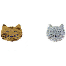 Clothing girl Sequin patches Reversible change color Smile Cat face Up and  Down Flip Patch for 051a38a56c6e