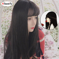 Allaosify Long Straight Black Brown 6 Colors Hairstyles Synthetic Cosplay Wig Hair Heat Resistance Women Party