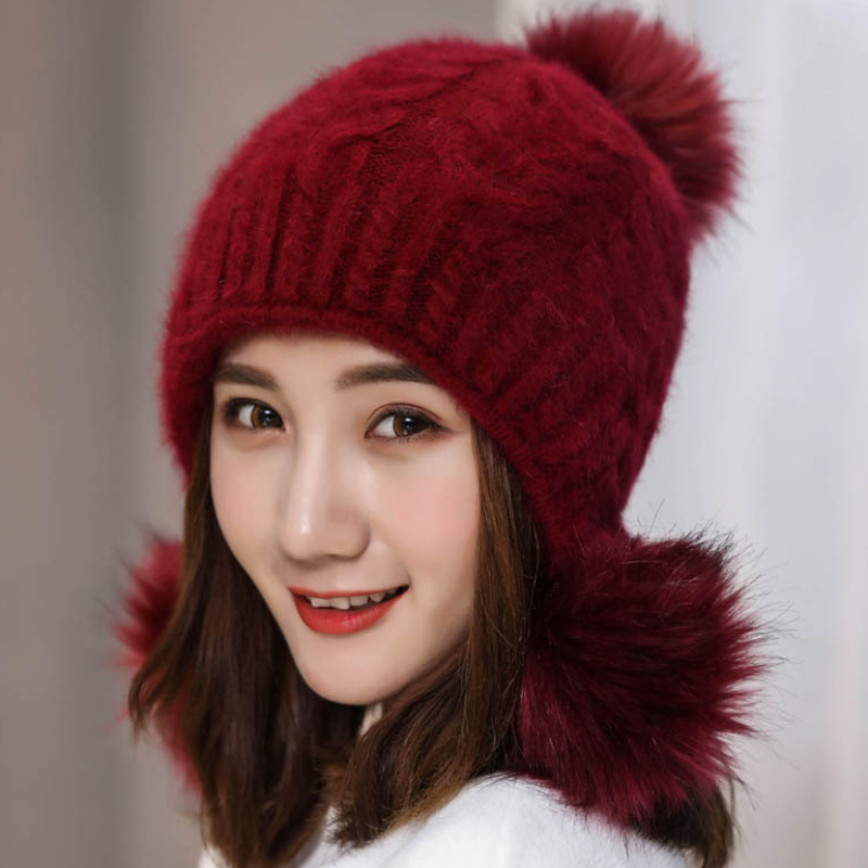 HT2124 Women Rabbit Fur Hat Thick Warm Winter Knitted Hat for Women High Quality Fur Pompoms Ball   Skullies     Beanies   Earflap Caps