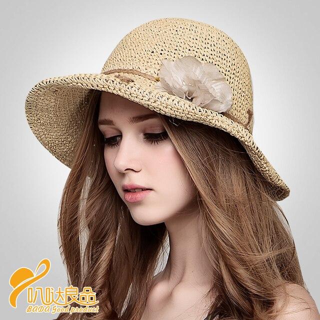 2016 Новый сладкий шляпа солнца оригинальный ручной ручной работы прекрасная шляпа Европа любовные стиль розы бутон плоским соломенная шляпа B-2283