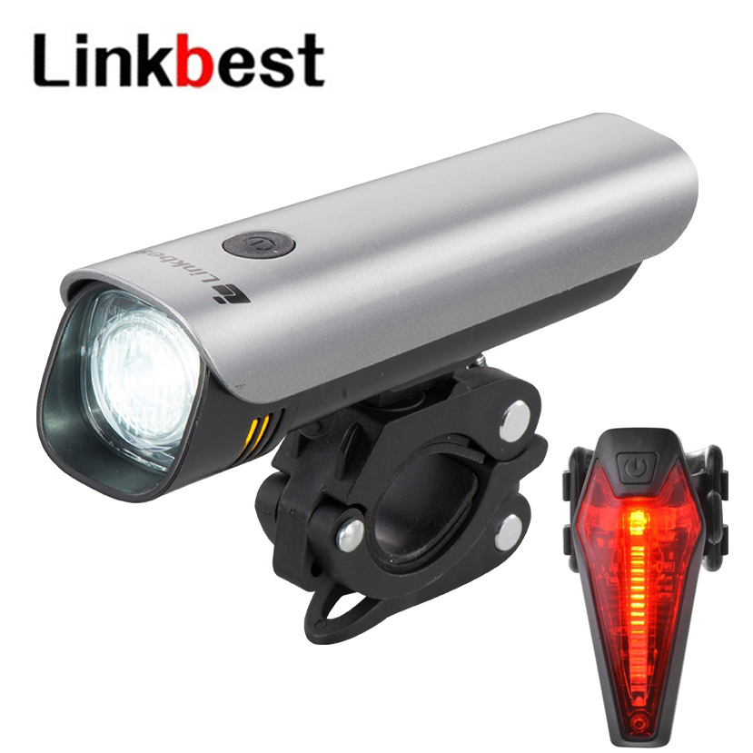 Linkbest 300 Lumens <font><b>USB</b></font> Rechargeable <font><b>Bike</b></font> <font><b>Light</b></font> <font><b>Set</b></font> Bicycle <font><b>Light</b></font>-8 hrs run time- Waterproof IPX5 -Side <font><b>Light</b></font>-Fit ALL <font><b>BIKES</b></font> image