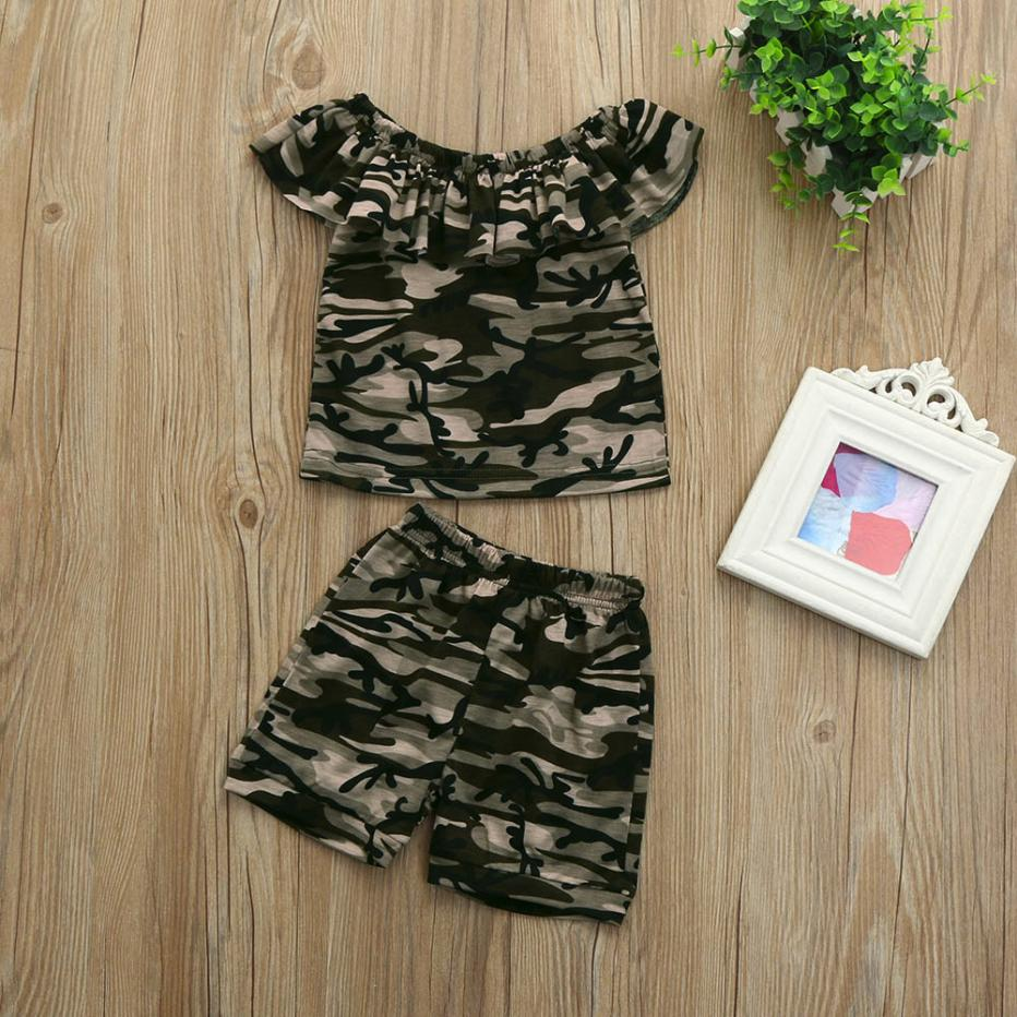 Summer Kids Clothes Set MUQGEW Girls Clothing Sets 2018 Children Camouflage T-shirt+Camouflage Shorts Set Children Girl Clothes 2pcs children outfit clothes kids baby girl off shoulder cotton ruffled sleeve tops striped t shirt blue denim jeans sunsuit set