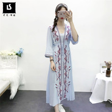 Sexy Beach Leisure vacation Long Dresses Women Drawstring Slim Waist Dress V Neck Boho Floral Embroidery National style Vestidos(China)