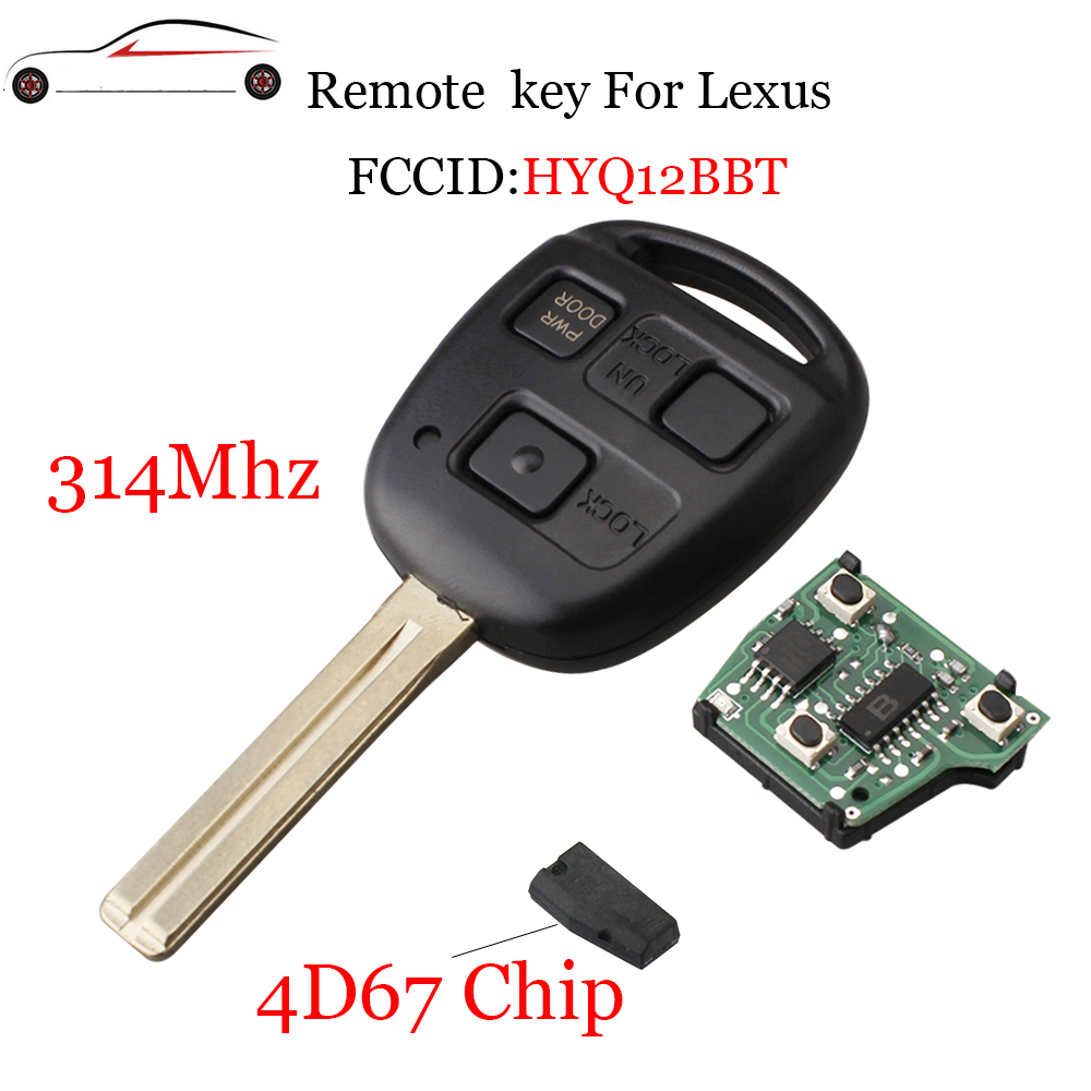 HYQ12BBT In-Car Technology, GPS & Security Replacement Remote key Fob 3 Button for Lexus EX330 RX330 2004-2007