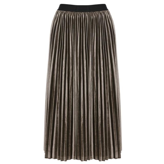 Mujeres Sólido de Lana de Cintura Alta Falda de La Cintura Elástico Plisada Falda más el Tamaño 3 Colores de La Vendimia Falda Saia Longa Faldas Midi falda