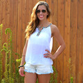 Summer Style 2016 New Hollow Out Sleeveless Sexy Backless Women Tank Tops Casual All-Match Casual Lace Top