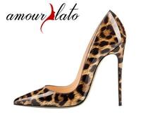Amourplato kadın Sivri Burun Leopar Desen Moda Stiletto Hayvan Baskı Parti Patent Elbise Ayakkabı Pompalar 12 cm Topuk Yüksekliği
