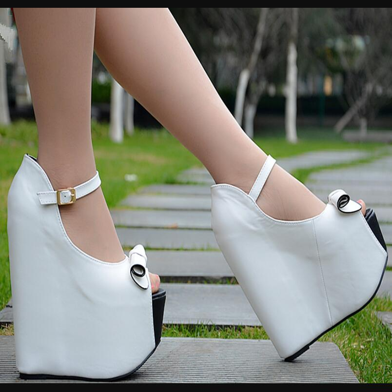 Europe and America women super high heels sexy high slope with thick bottom fish mouth shoes female 17CM wedges slope sandals europe and super high heels 14cm fashion shoes waterproof fish head sexy nightclub fine with plaid shoes