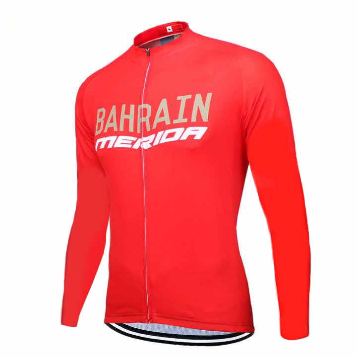 2019 uci world tour pro team bahrain RED long sleeve spring autumn cycling  jersey men Bicycle ff3de8dd3