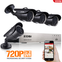 ZOSI 4CH CCTV System 720P HDMI AHD 4CH CCTV DVR 4PCS 1 0 MP IR Outdoor