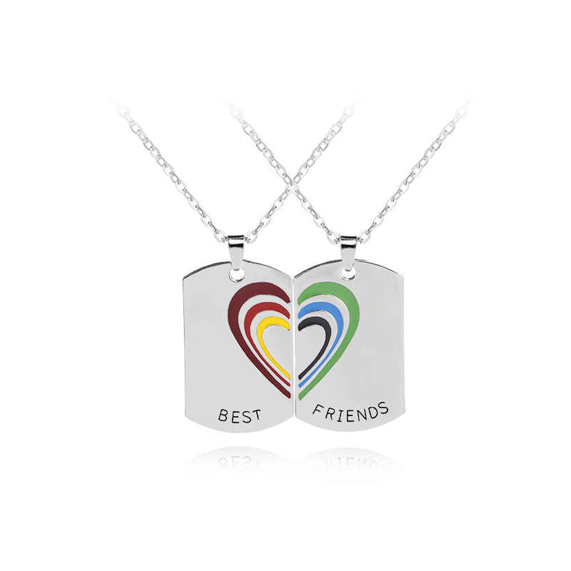 "New 2pcs Fashion Creative pendant necklace rainbow English letters "" best friend "" love Splicing Necklace for womem men Gift"