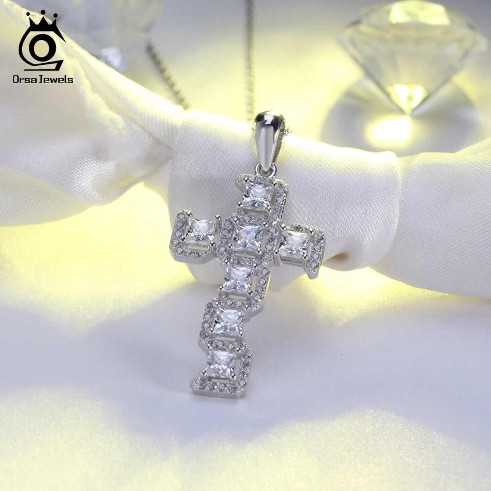 ORSA JEWELS 100% ожерелья из стерлингового серебра 925 пробы женский крест кулон волнистая форма с AAA циркон Роскошные вечерние ювелирные изделия 2019 OSN64