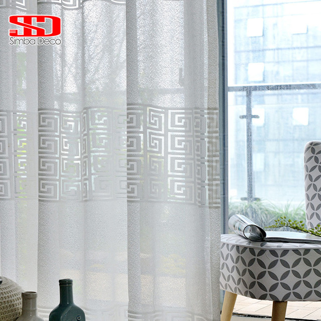 European Geometric Window Tulle Curtains for Living Room White Voile ...