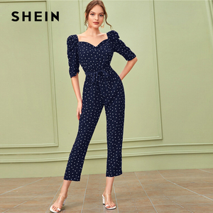 Image 4 - SHEIN Sweetheart คอพัฟแขน Elegant Jumpsuit กับเข็มขัดผู้หญิง 2019 ฤดูใบไม้ร่วงสูงเอวขาตรง Jumpsuits