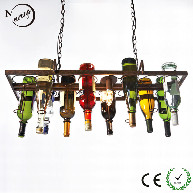 Recycled retro Hanging Wine Bottle led ceiling Pendant Lamps E27 light  for dining room/bar/restaurant Kitchen lighting fixture 20 chinese style lantern dining room pendant light fabric restaurant hanging lamps retro living room pendant lamps