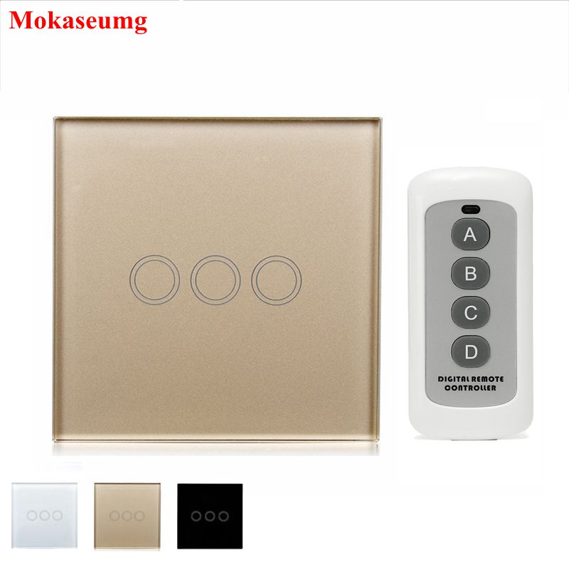 Universal Wireless Remote Control Light Switchs 3 Gang 1 Way Tempered Glass Panel EU Smart Switch Touch Switch Smart Home Y603 black color 2gang touch light switch with wireless remote control rf 433mhz glass panel smart wall touch switch uk type