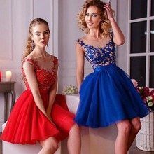 Sexy Red Short Prom Dresses Party Kleid Formale Boot-ausschnitt Spitze Applique Chiffon Open Back Vestidos De Festa