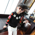 2016 boys sweatshirts with five-pointed star plus velvet child basic shirt flower print long-sleeve A429