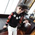 2016 chicos sudaderas con estrella de cinco puntas camisa básica de terciopelo niño imprimir manga larga A429