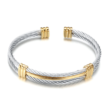 new arrival spring wire line colorful titanium steel bracelet stretch Stainless steel Cable Bangles for women