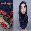 Projeto Popular simples Corrente de OURO cor sólida printe xales de algodão headband do populares outono hijab lenços muçulmanos/cachecol 10 pçs/lote
