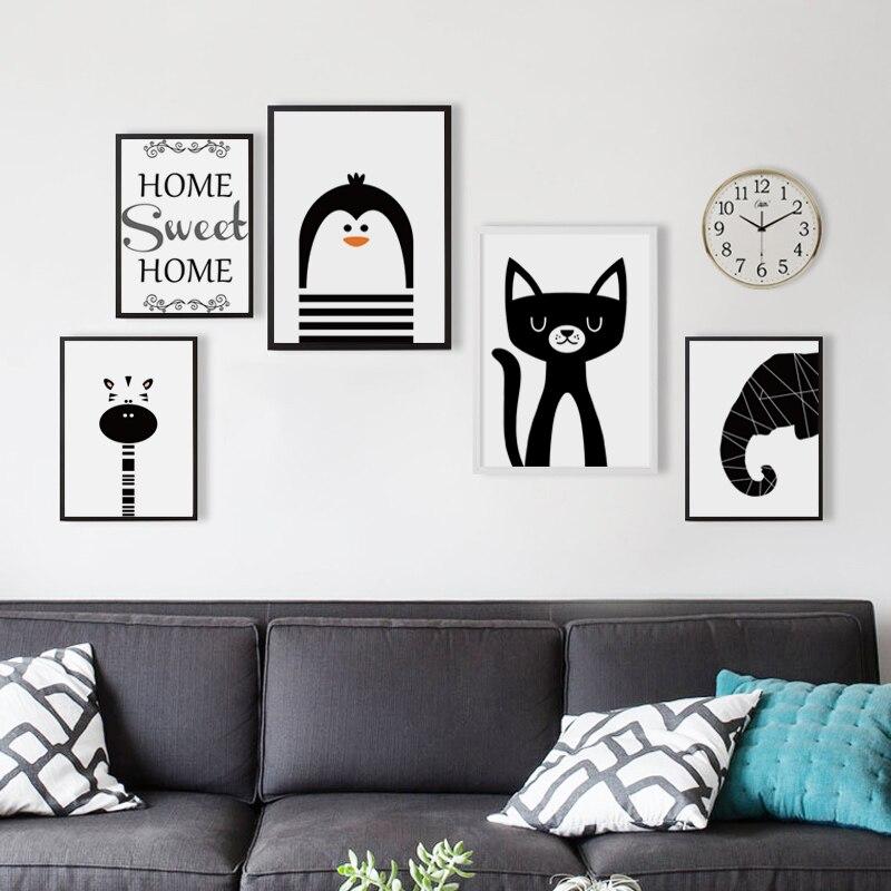 Прості чорно-білі тварини мультфільм - Домашній декор