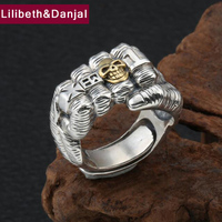 2019 Punk Finger Adjustable Ring 100% Real 925 Sterling Silver Jewelry Men Creative Skull Power Fist Statement Black Ring R71