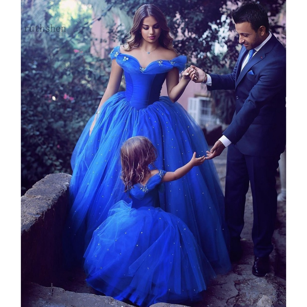 Real Photo Modest   prom     dress   2019 blue sexy ball gown bare back pleat sequins floor-length party   dress   vestidos de casamento