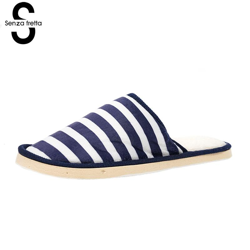 Senza Fretta Men Shoes Autumn Striped Slippers Soft House Slippers Men Home Soft Shoes Cute Bedroom Foot Warmer Slippers Men soft house slippers women men home shoes cute bedroom foot warmer japanese indoor slippers fur pantufa zapatillas casa chaussons