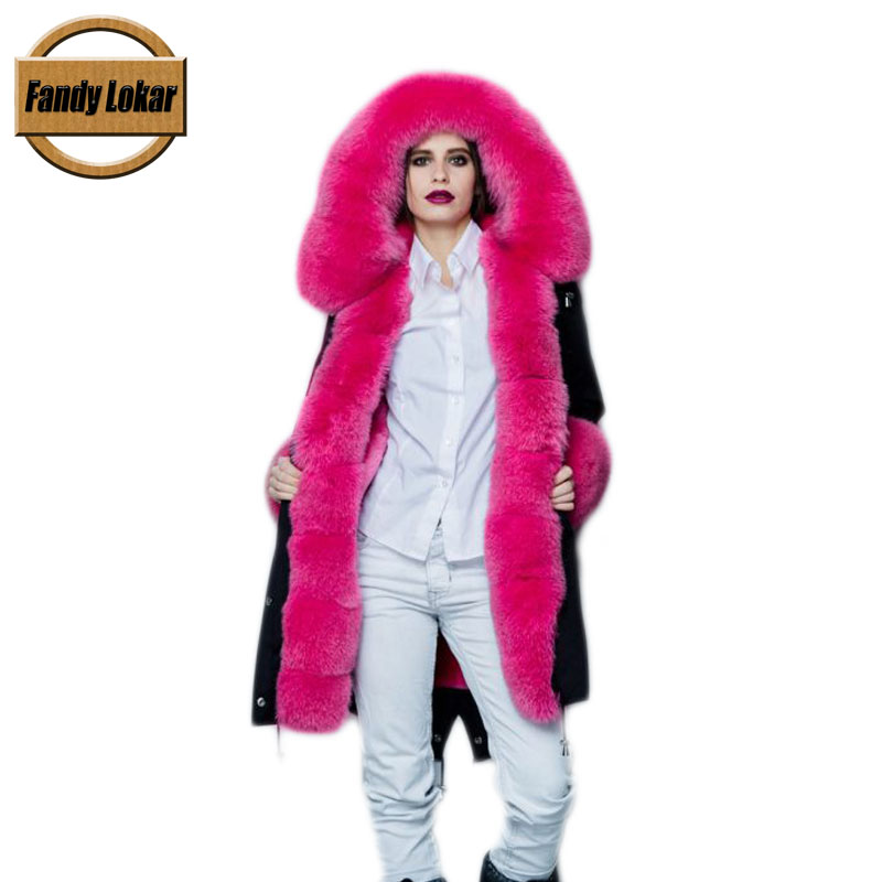 Fandy Lokar FL Fur Parka Winter Women Jacket Fashion Real Fox With Genuine Rabbit Lining Warm Coats Female