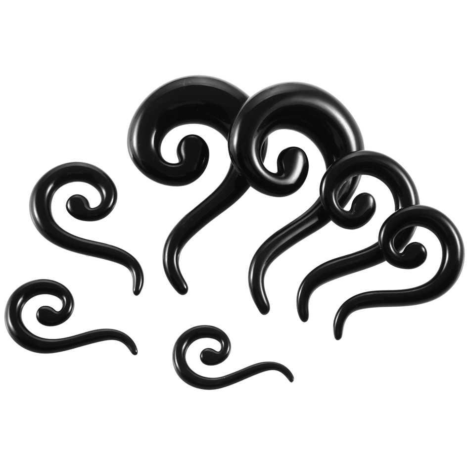 2 pcs/lot acrylique noir oreille brancards bouchons et Tunnels oreille Piercing Kits spirale oreille jauges 1.6mm-12mm corps Piercing bijoux