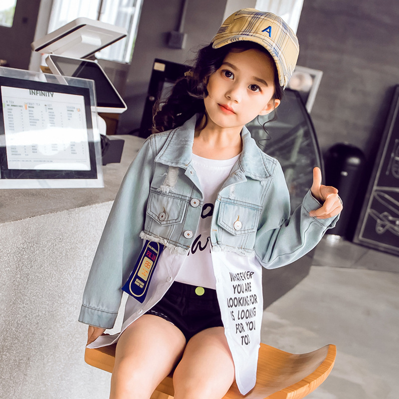 Girls coat autumn 2019 spring Korean version of the cowboy clothes childrens clothing spring new fashion short paragraph clotheGirls coat autumn 2019 spring Korean version of the cowboy clothes childrens clothing spring new fashion short paragraph clothe
